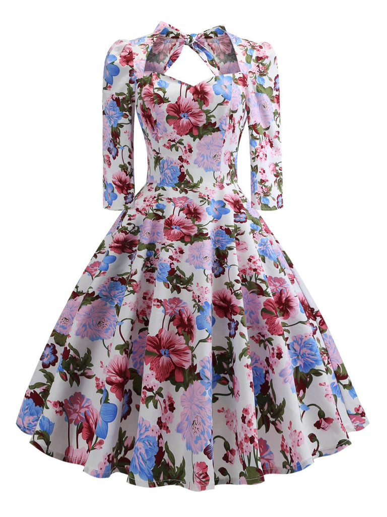 Multicolor 1950s Floral Lace Up Dress