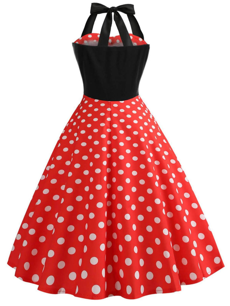 US Only Red 1950s Polka Dot Bow Dress