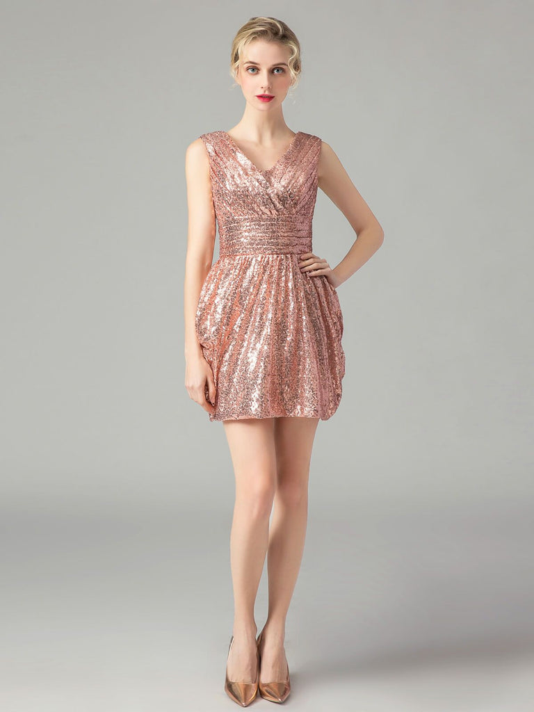 Sequin Wedding Bridesmaid Mini Dress