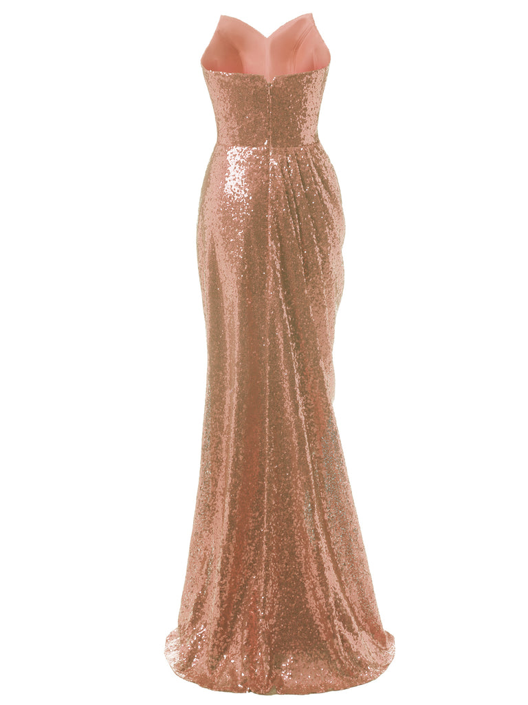 Strapless Sequin Fold Prom Dress