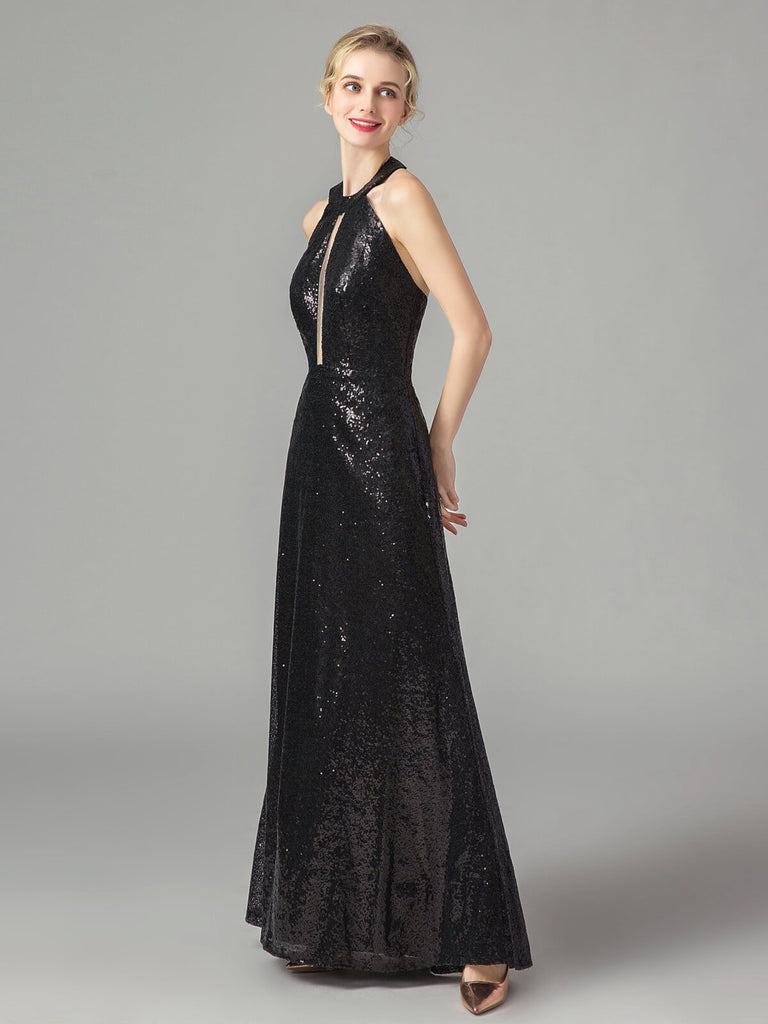 Vintage Sequin Halter Bridesmaid Maxi Dress