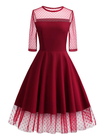 1950s Lace Mesh Patchwork Dress