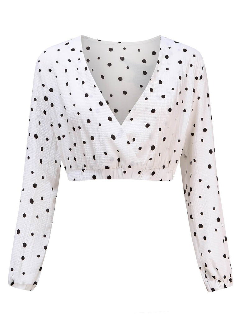 Retro Polka Dot Wrap Crop Top