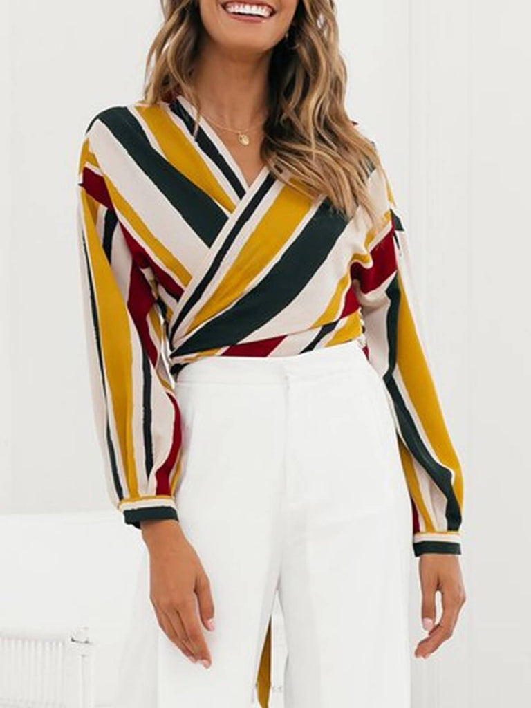 Retro Striped Chiffon Wrap Crop Top