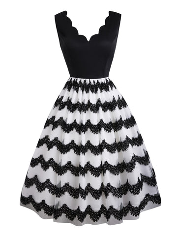 Black 1950s Striped Swing Dress