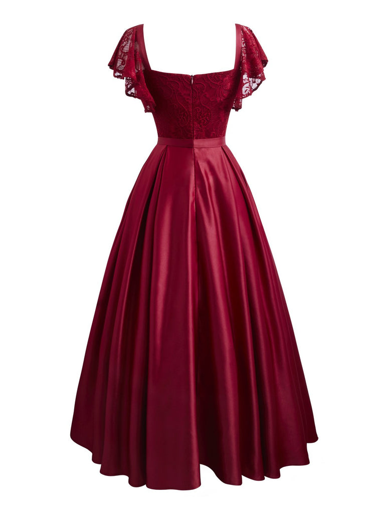 Wine Red 1950s Lace Satin Dress