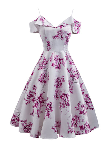 Pink 1950s Floral Cold Shoulder Dress