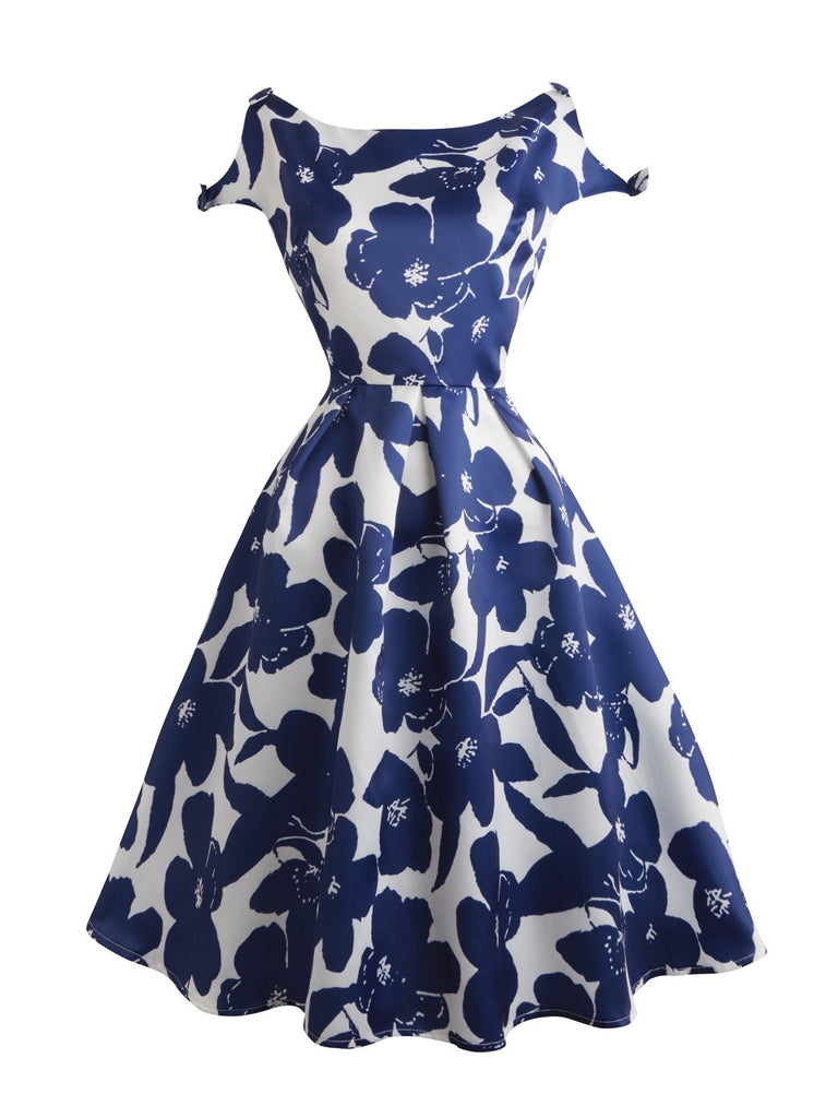 Blue 1950s Butterfly Sleeve Floral Swing Dress