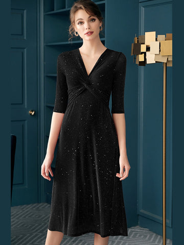 1940s Solid Glitter Twist Knitted Dress