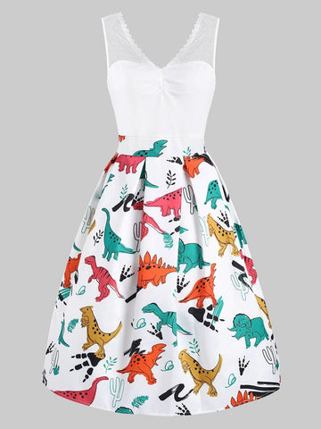 1950s Dinosaur Mesh Patchwork Dress