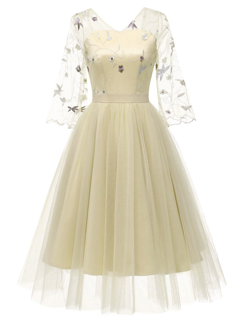 1950s Lace Embroidery Mesh Chiffon Dress