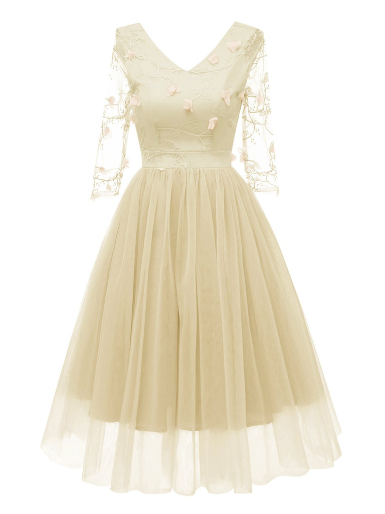 1950s Mesh Embroidery Bridesmaid Dress