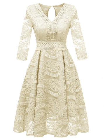 1950s Lace Floral 3/4 Sleeve Dress
