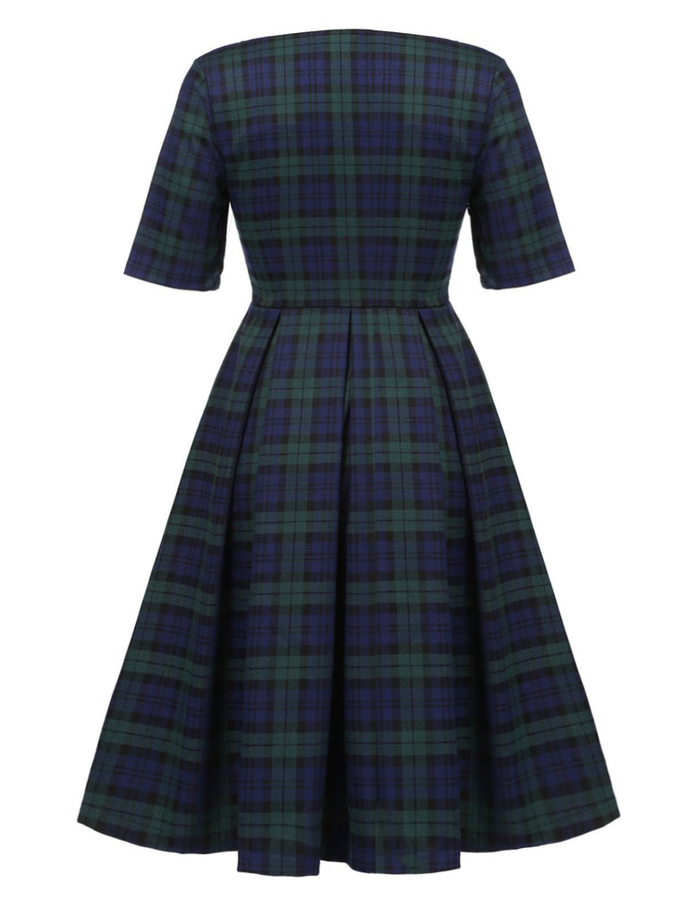 Dark Green 1950s Plaid Square Neck Dress