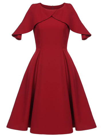 Wine Red 1950s Solid Swing Dress
