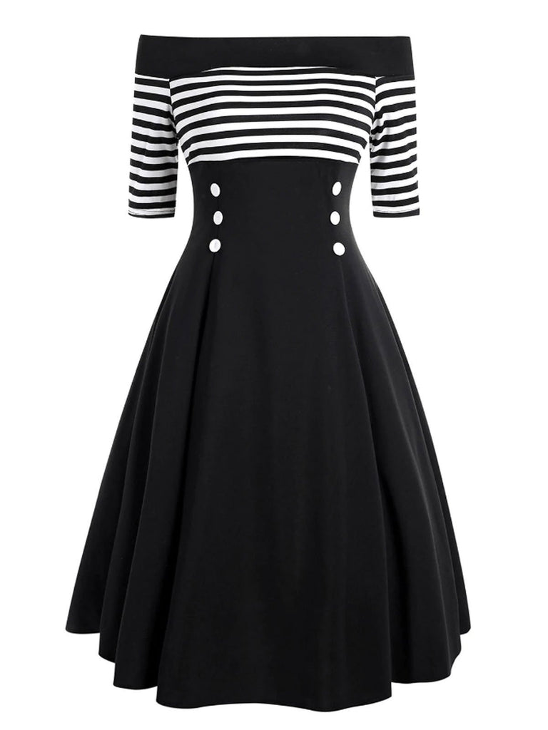 US Only Black 1950s Striped Off Shoulder Dress
