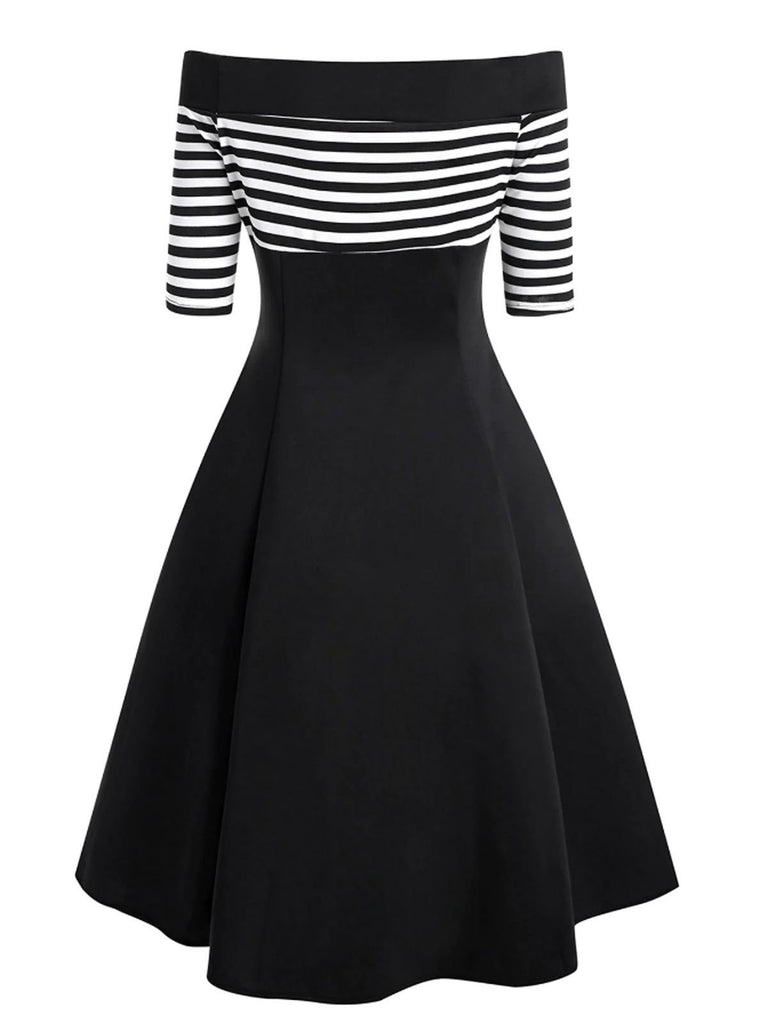 Black 1950s Striped Off Shoulder Dress