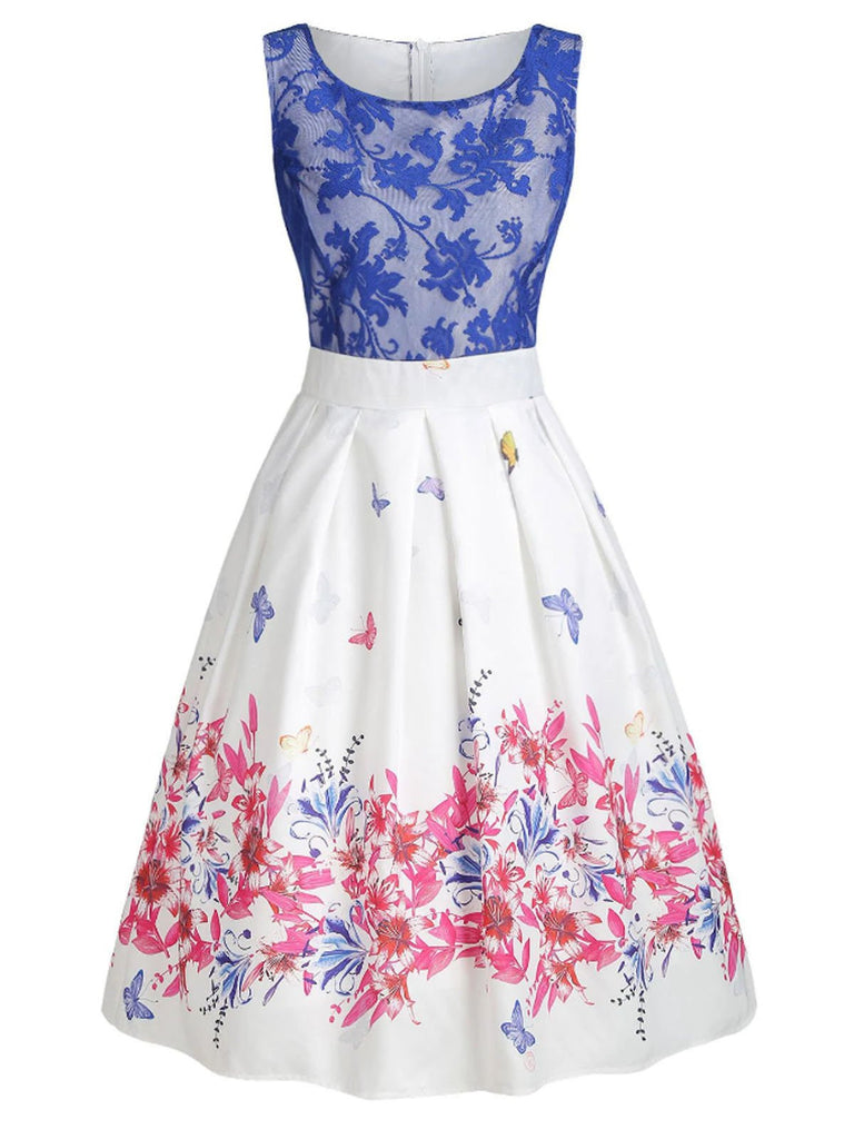 Blue 1950s Lace Butterfly Dress