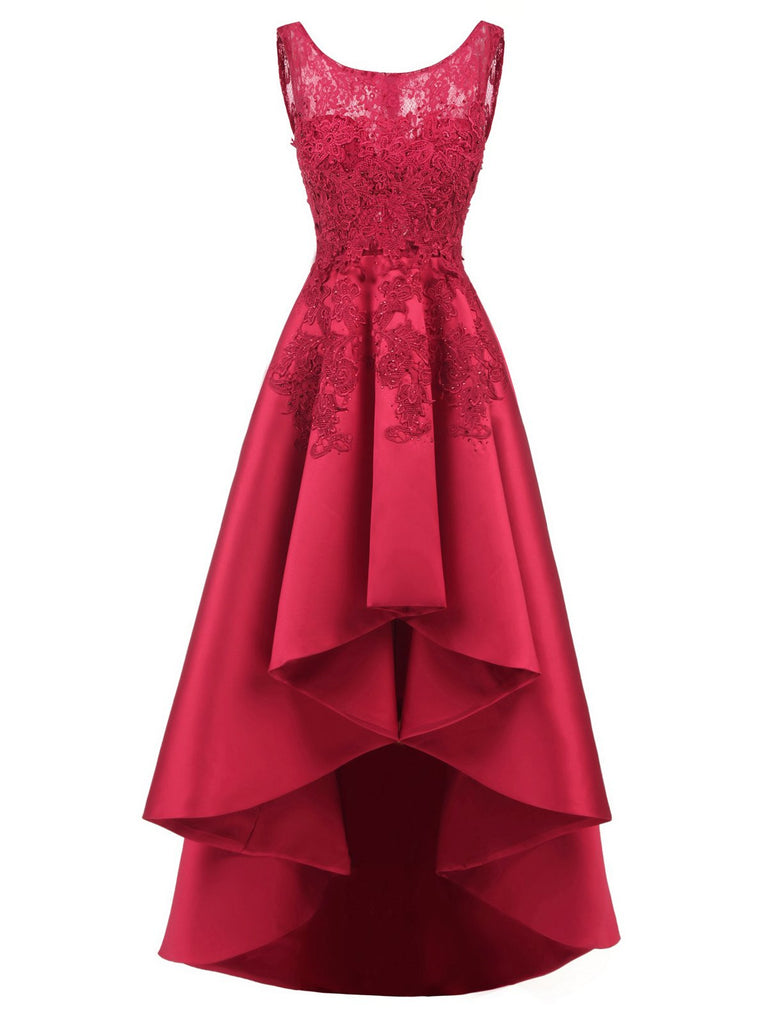 Wine Red Vintage Lace Solid Hilo Formal Dress