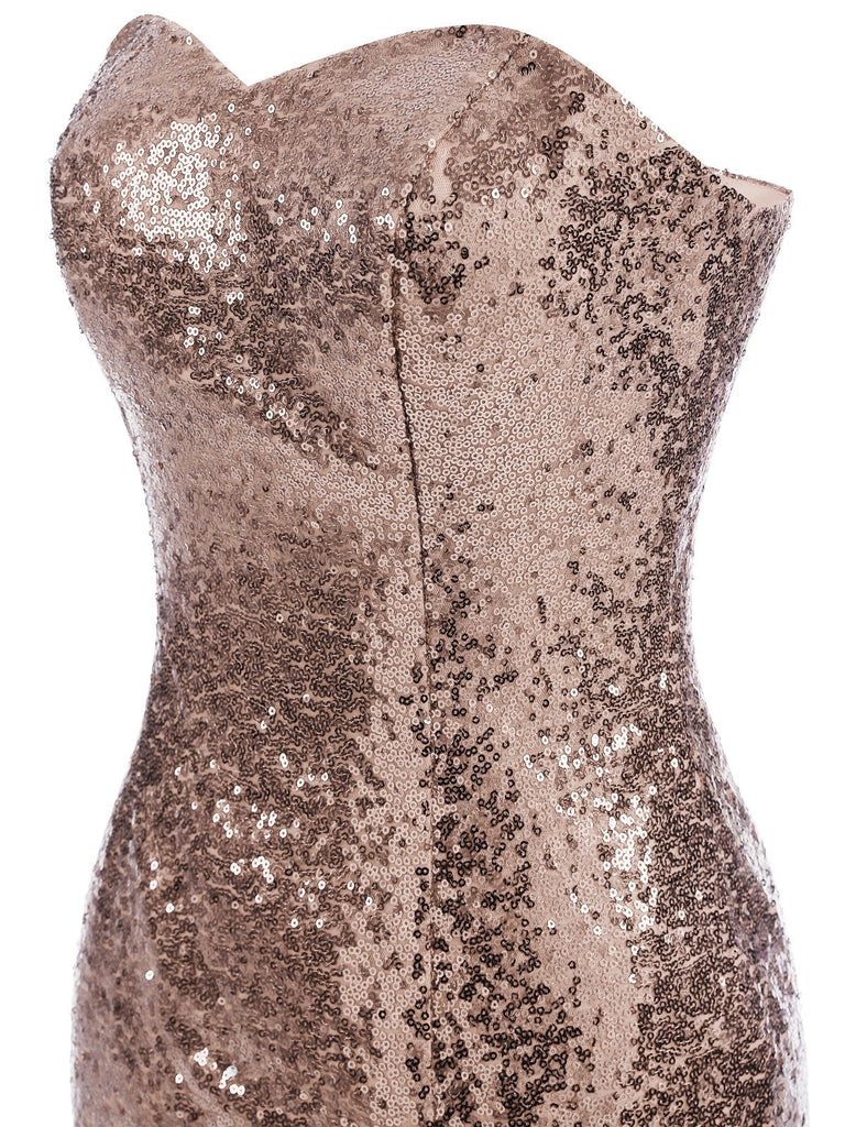 Vintage Sequin Strapless Dress