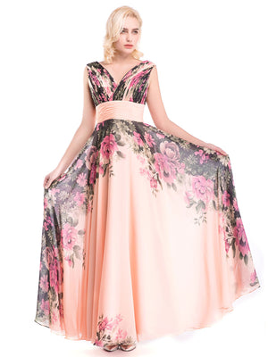 Pink Floral Chiffon Formal Party Dress