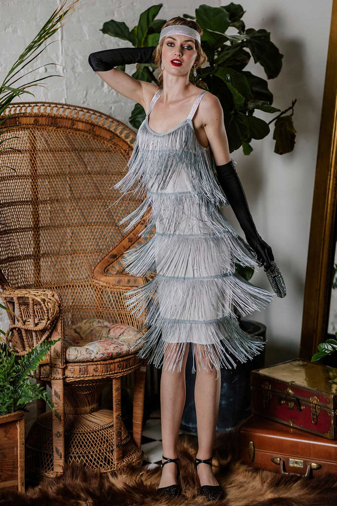 US Only Belted Gray 1920s Fringe Gatsby Dress
