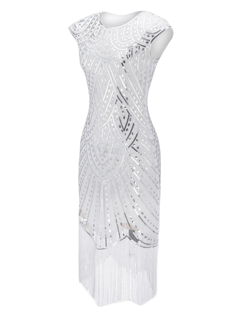 White 1920s Beaded Fringed Gatsby Dress