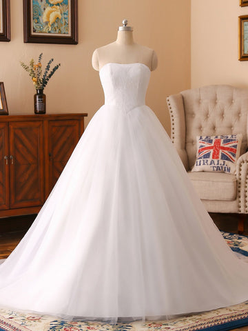 White Strapless Back Lace Up Wedding Dress