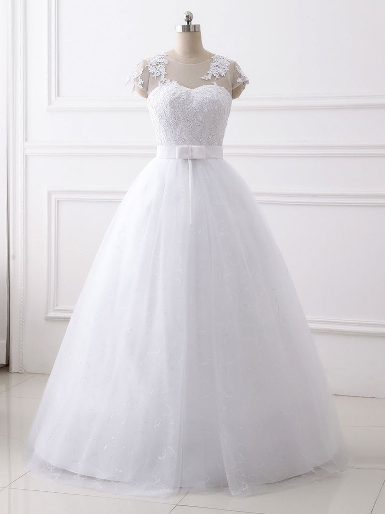 White Lace Bow-knot Wedding Dress