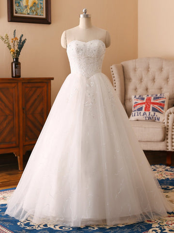 White Strapless Lace Wedding Dress