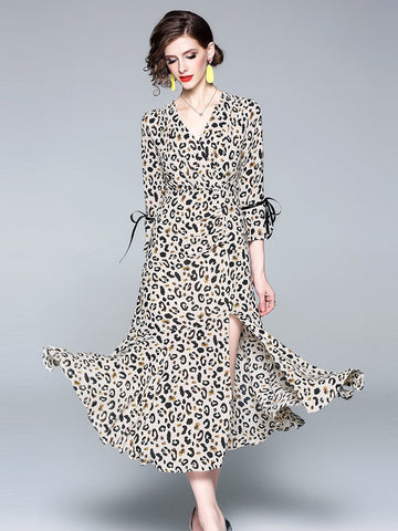 Leopard 1940s Chiffon Dress