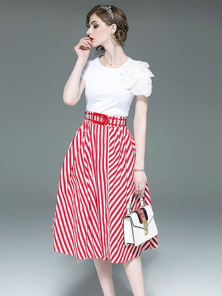 2PCS 1950s White Tops And Striped Skirt Set