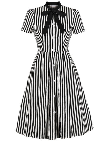 Black 1940s Stripe Bow Dress