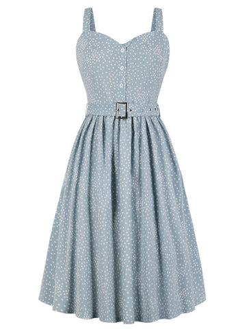 Blue 1940s Polka Dot Strap Dress