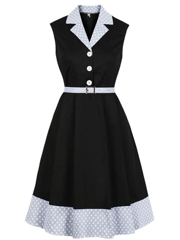 Black1940s Polka Dot Turndown Collar Dress