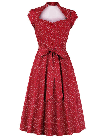 Red 1940s Floral Belted Dress