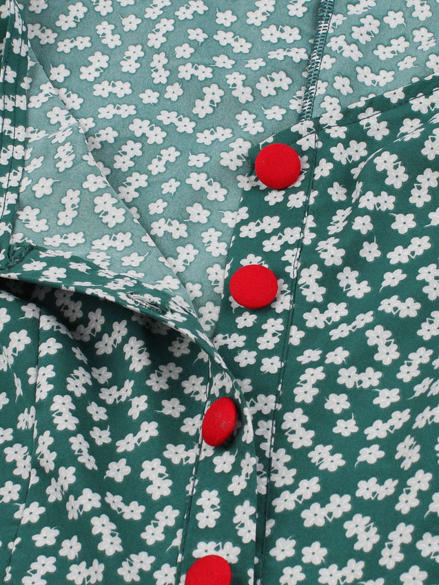 Green 1940s Floral Loose Button Dress