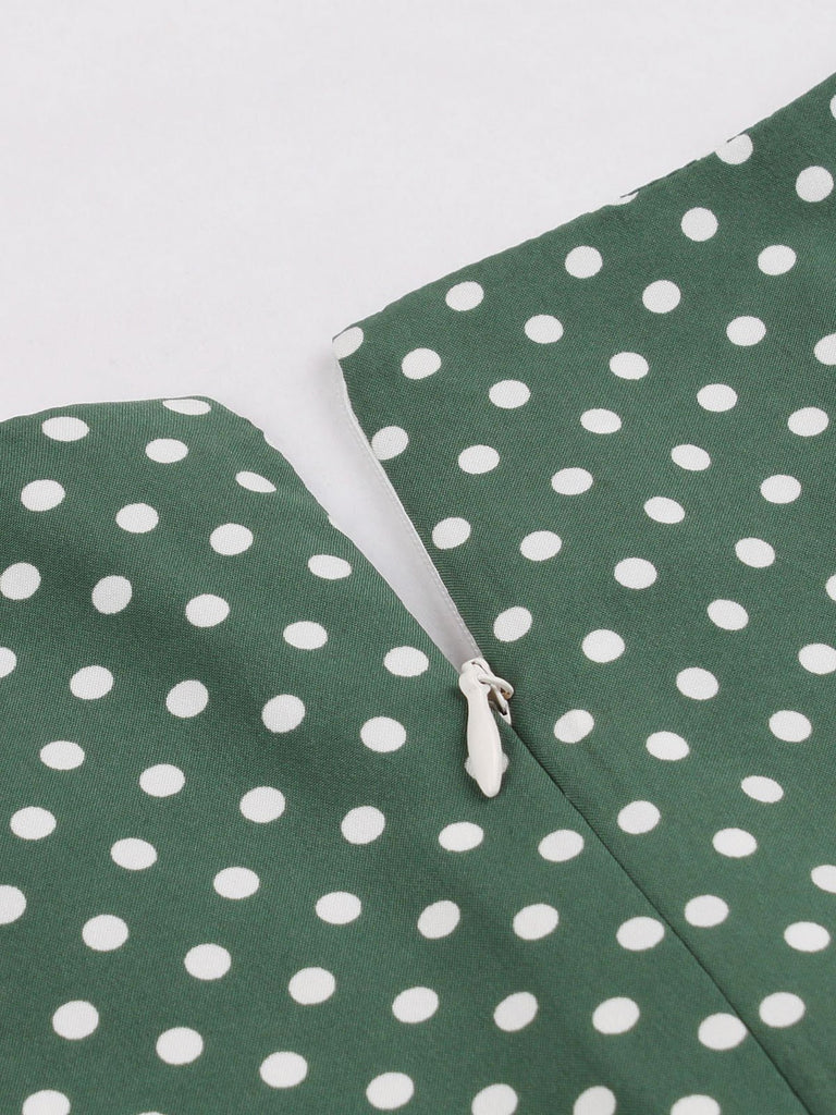 Green 1940s Dot Square Neck Button Dress