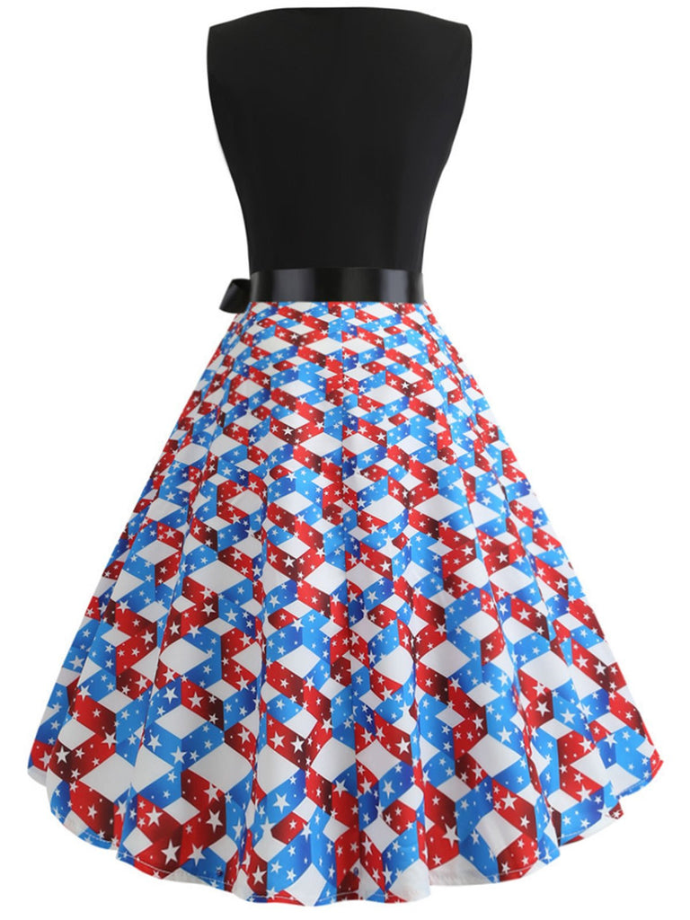 1950s American Flag Stars Belted Dress