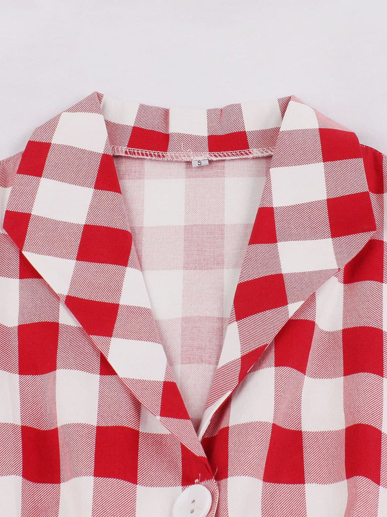 US Only Red 1950s Pockets Plaid Dress