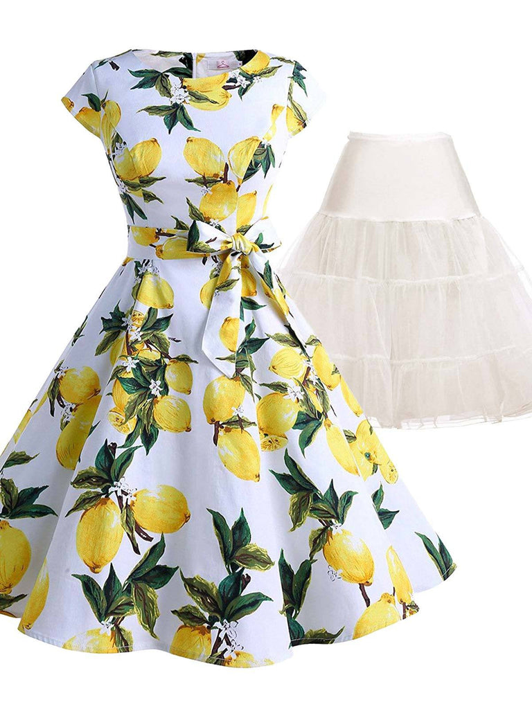 2PCS Lemon Belted 1950s Dress & White Petticoat