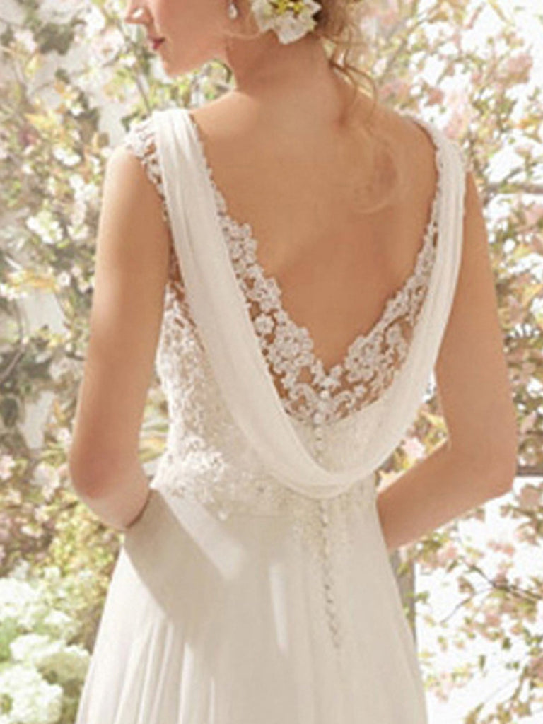White Lace Floral Chiffon Maxi Bride Dress