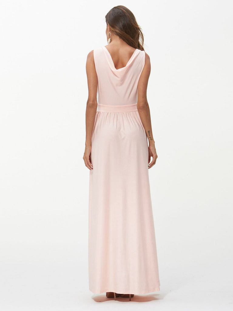 Solid Split Wrap Maxi Dress