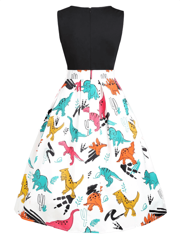 White Plus Size 1950s Dinosaur Swing Dress