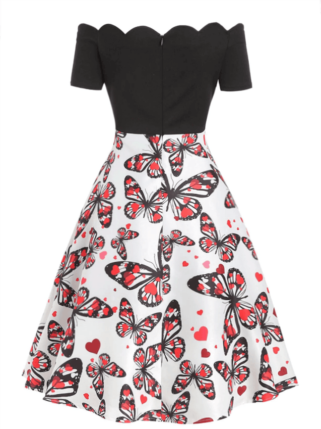 Plus Size 1950s Off Shoulder Butterfly Dress