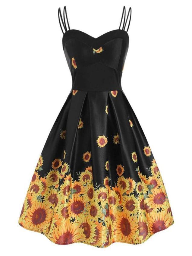 Black 1950s Sunflower Strap Dress
