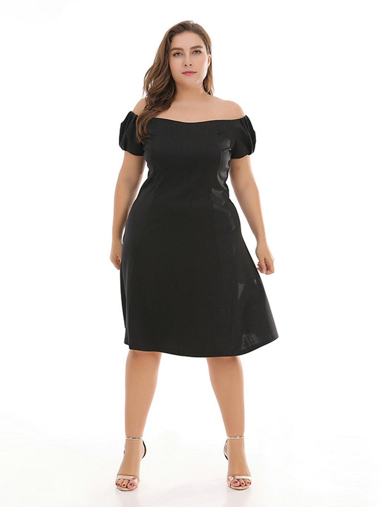 Plus Size 1950s Off Shoulder Dress