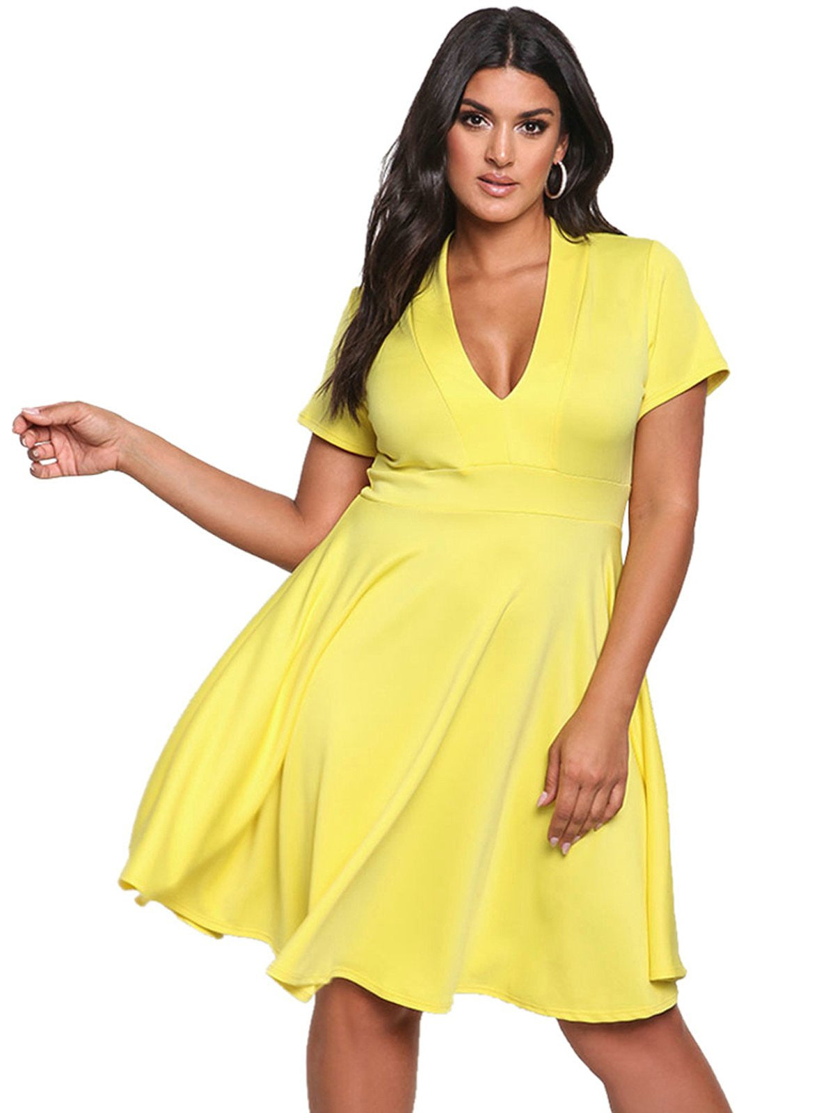 Plus Size 1950s Solid V Neck Dress - Retro Stage - Chic ...