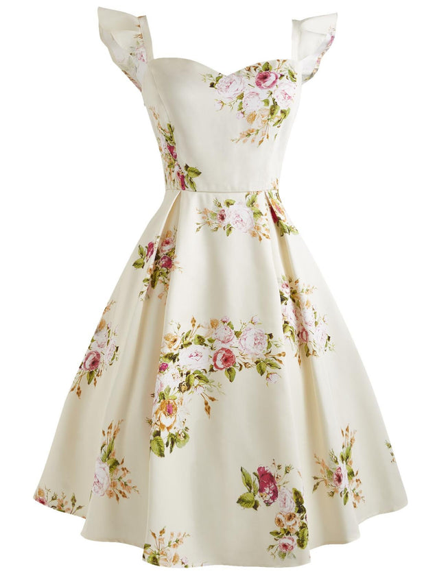 Cream 1950s Sweetheart Ruffle Sleeveless Dress