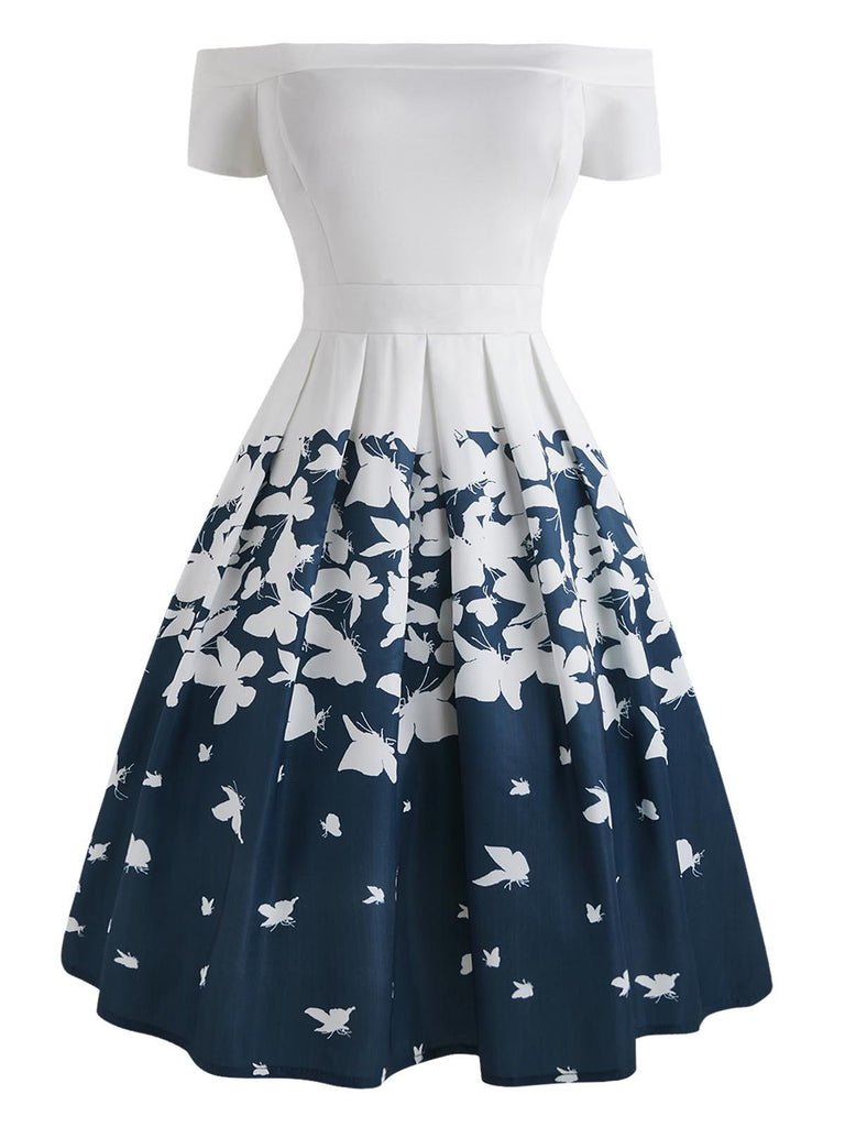 US Only 1950s Butterfly Off Shoulder Dress